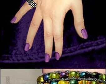 Stretch seed beaded Finger Ring Nude Collection