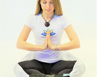Padma Seat Lotus Wrap Yoga Strap, Hip Opener & Meditation Belt Aid for Spinal support and prolonged sitting comfortably cross legged.