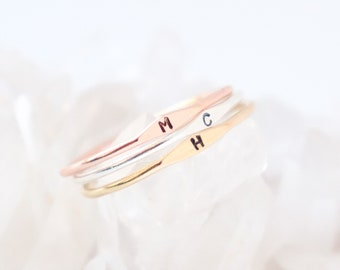 personalized initial ring. personalized ring. letter ring. SILVER, GOLD or ROSE gold filled. sterling silver. minimalist ring. 1mm band.