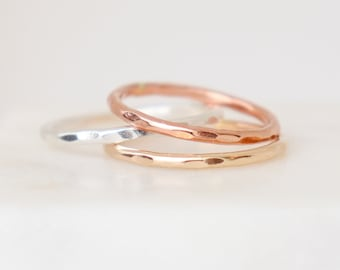 stacking band. 1.63 mm 14k GOLD / ROSE filed or sterling SILVER. stackable ring. hammered pebbled textured minimalist ring for her.