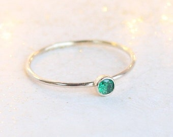 Emerald ring. gold ring. ONE delicate stackable birthstone ring. mothers ring. 14k gold filled. engagement ring. March birthstone ring.