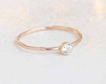 ROSE stacking ring. birthstone ring. cz diamond ring. ONE delicate stackable minimalist ring. mothers ring. 14k gold filled. PEBBLED stack