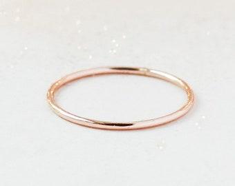 ROSE stacking ring. SMOOTH 14k rose gold filled band. ONE rose gold fill thin stackable ring. skinny stack ring. wedding band for her. 1 mm