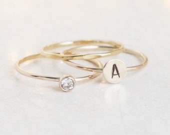 personalized gold stacking ring SET. initial ring. gold diamond ring. stackable rings. monogram ring gift for her. mothers ring. mothers day
