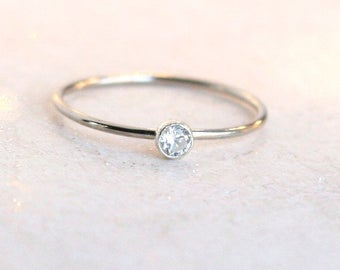 WHITE gold ring. SOLID 14k palladium gold minimalist engagement ring. ONE delicate stackable diamond ring. birthstone ring. stacking ring.
