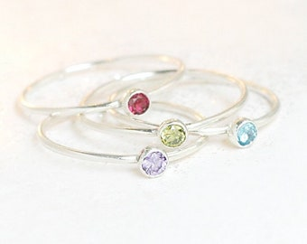 birthstone ring. ONE stackable birthstone gemstone ring. sterling silver. mothers ring. stacking ring. personalized gift for her under 30