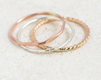 stackable rings. GOLD, SILVER, ROSE set of stacking rings. mixed metal stacking ring set. minimalist jewelry. gift for her. dainty midi ring