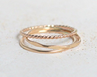 GOLD stacking rings. set of THREE boho gold filled slim stack rings. hammered. minimalist rings. 14k gold filled. knuckle ring. midi ring.