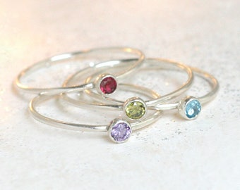 birthstone ring. ONE stackable birthstone gemstone ring. sterling silver. mothers ring. stacking ring. personalized gift for her under 25.