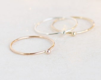 stackable ball droplet ring. ONE stacking ring. SILVER, or GOLD filled. rose gold. ball drop stacking ring. dainty minimalist stack ring.