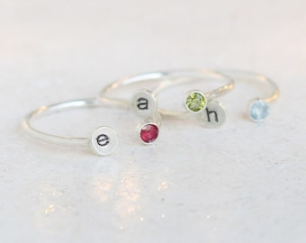 personalized initial ring. SILVER. dual ring. birthstone gemstone ring. sterling silver. mothers ring. stackable ring. mothers day ring.