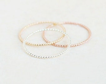twist rope stacking ring. GOLD, ROSE or SILVER stackable ring. twist ring skinny slim. 14k gold fill rose or sterling silver stack ring. 1mm