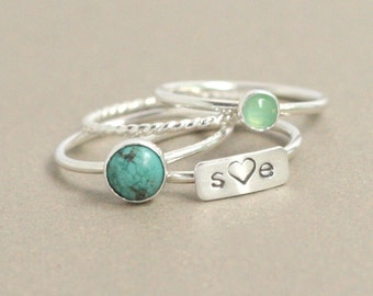 personalized ring SET / silver, turquoise, chrysoprase rings. sterling silver stacking ring. personalized rings. rectangle bar. geometric.