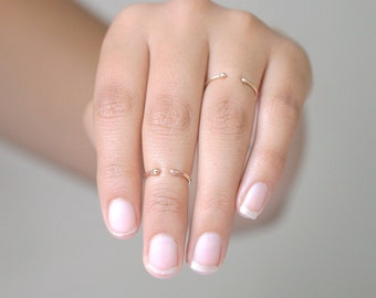 SOLID 14k GOLD stacking ring. knuckle ring. midi ring. ONE dainty stacking ring. first knuckle ring. mid ring. cuff ring.