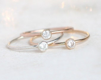 stacking ring set. TRIO of three mixed metal rings. gold, silver, rose gold rings. stackable birthstone rings. mothers rings. minimalist.