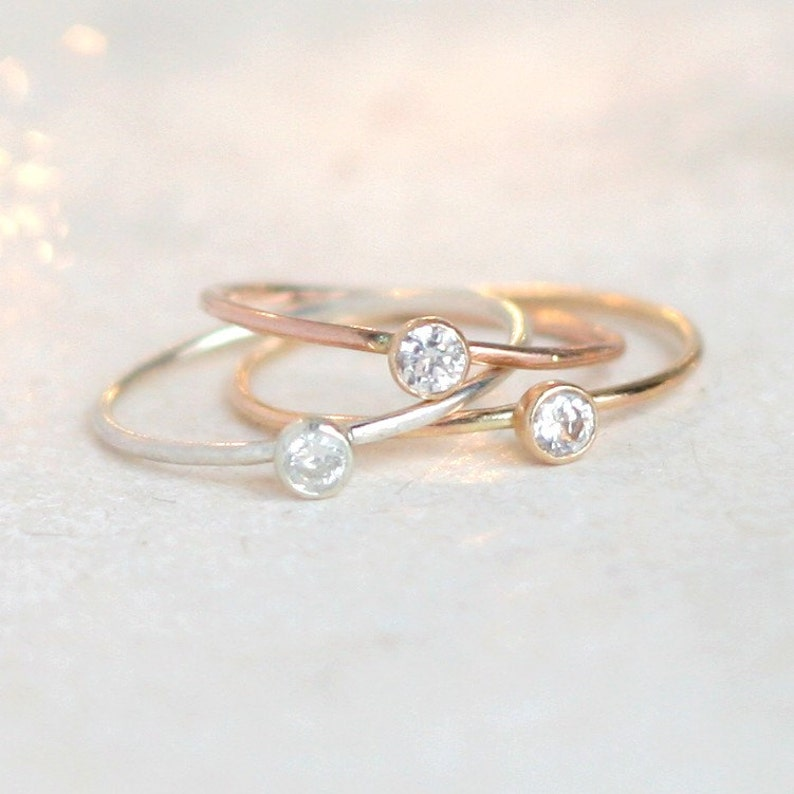 THREE birthstone stacking ring set gold filled rings PEBBLED sterling silver tiny gemstone rings rose stackable rings minimalist rings