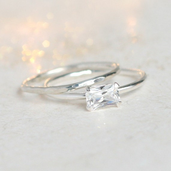 Diamond Ring Set Emerald Cut Cz Diamond Ring And Wedding Etsy
