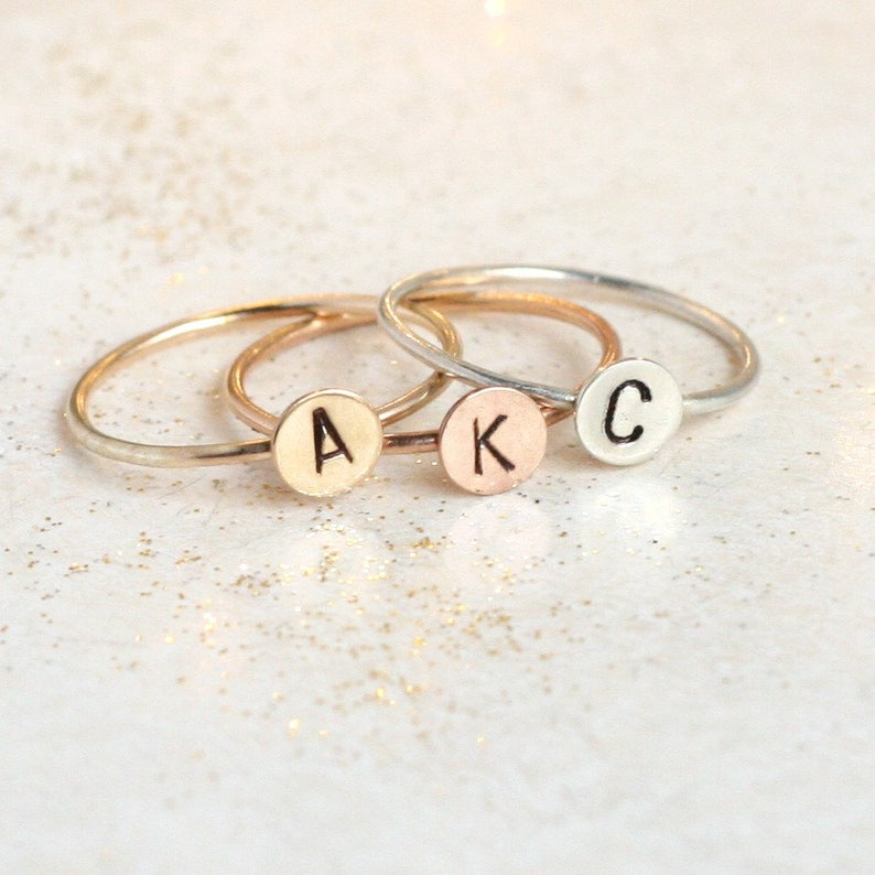 519261ea55ae2 initial ring. personalized ring. ROSE, SILVER, or GOLD. one personalized  stack ring. gift for her. stackable mothers ring. mothers day gift.