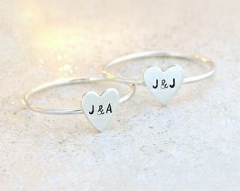 initial ring. silver heart ring. custom stacking ring. initial jewelry. ONE personalized ring. couples ring. best friend ring. bridesmaid.