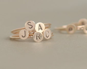 initial ring. solid 14k gold monogram stacking ring. ONE hand stamped letter ring. personalized initial jewelry. bridesmaid gift for her.