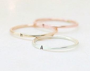personalized initial ring. personalized ring. letter ring. SILVER, GOLD or ROSE gold filled. sterling silver. minimalist ring. 1.3mm band.