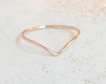 ROSE gold chevron ring. ONE stacking ring. minimalist ring. dainty. slim skinny rose gold filled ring. stack ring. stackable ring. rose band