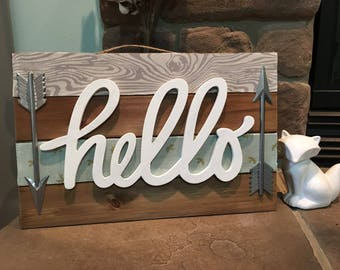 Wooden Fabric Covered Entryway Hello Sign 17x11 Home Decor
