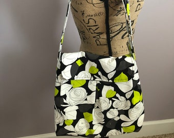 Black, White, and Lime Green Floral Purse