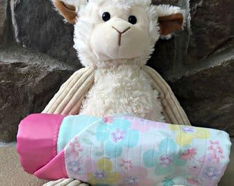 Satin Trim Cotton Swaddle Blanket- Muslin Blanket- Floral and Mint