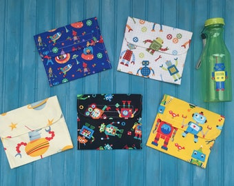 Reusable Snack Bag Set With Water Bottle- Robots