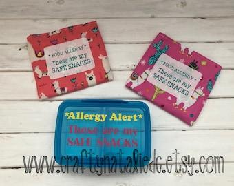 Safe Snack Bundle- Food Allergy Alert Snack Container and Reusable Snack Bags- Safe Snack Alert- Safe Snack Llama Reusable Bag