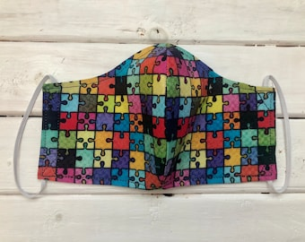 READY TO SHIP- Children's Face Mask- Autism Awareness Mask- Autism Puzzle - Rainbow Puzzle (7-12)