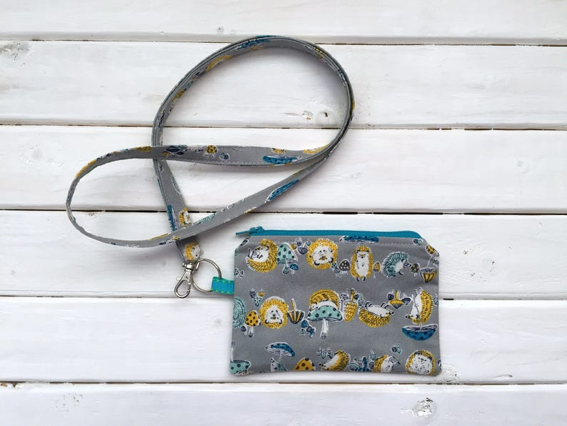 Lanyard with Zipper Pouch Gray Hedgehogs Imported Japanese image 0