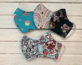 READY TO SHIP- Back To School Bundle- Set of 5 Masks - Kids Cotton Two Layer Mask- Assorted Girls Masks- Girls Variety Pack Masks (7-12)