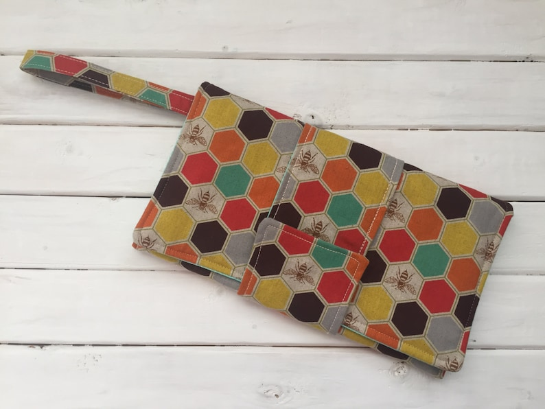 Wristlet Clutch Bag Imported Japanese Fabric Honeycomb Bees image 0