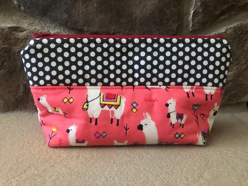 Llama Makeup Bag With Scrunchie Cosmetic Bag Toiletry Bag image 0