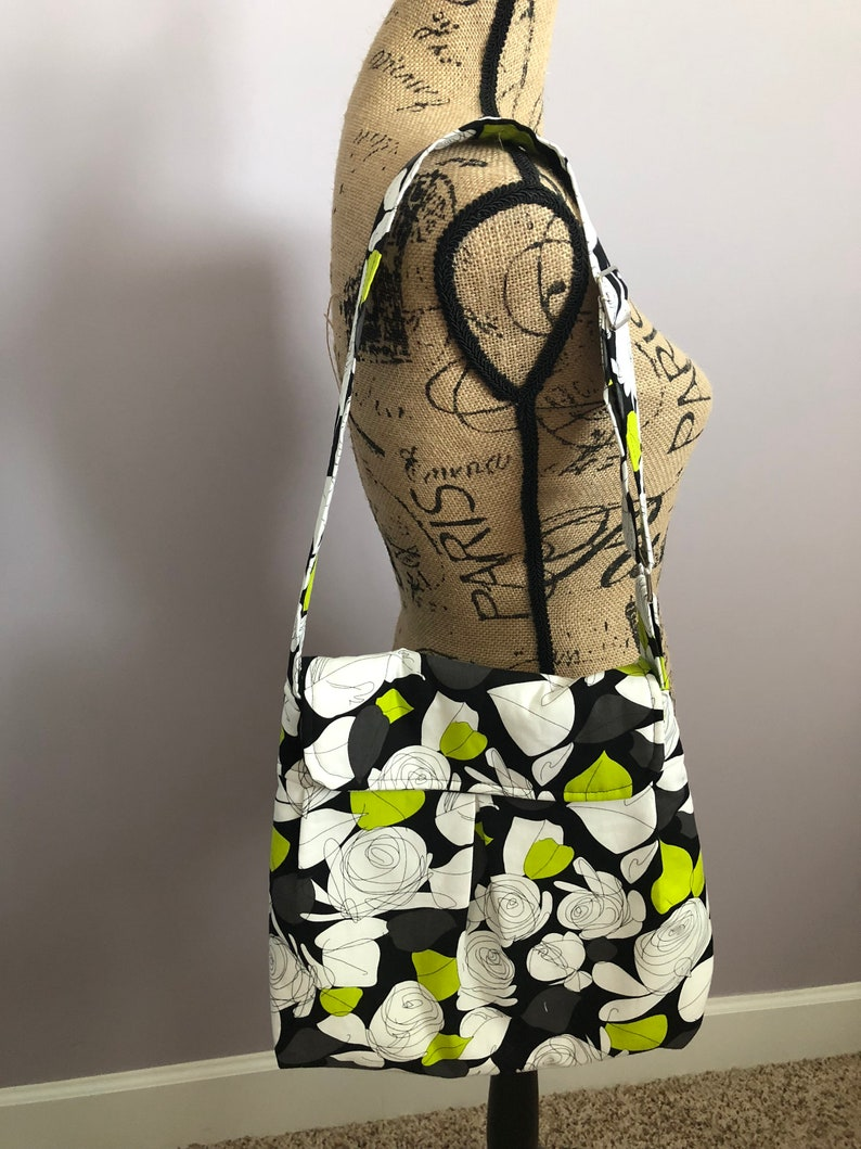 Black White and Lime Green Floral Purse image 0