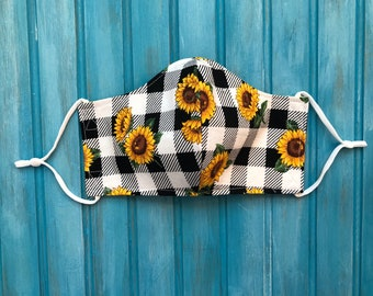 READY TO SHIP- Woman's Two Layer Mask w/Adjustable Ear Loops- Checkered Sunflower Mask- Fits Teens 13+