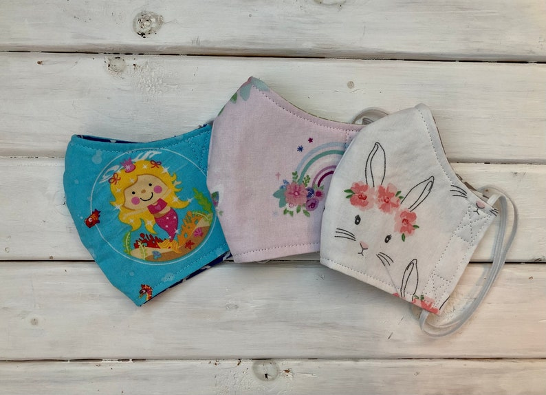 READY TO SHIP Children's Face Mask Set of 3 Girls image 0