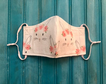 READY TO SHIP- Children's Face Mask with Adjustable Ear Loops- Bunny With Floral Crown Mask- Bunny Mask (3-6)