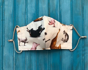 READY TO SHIP- Woman's Two Layer Mask w/Adjustable Ear Loops- Farm Animal Yoga Mask- Fits Teens 13+