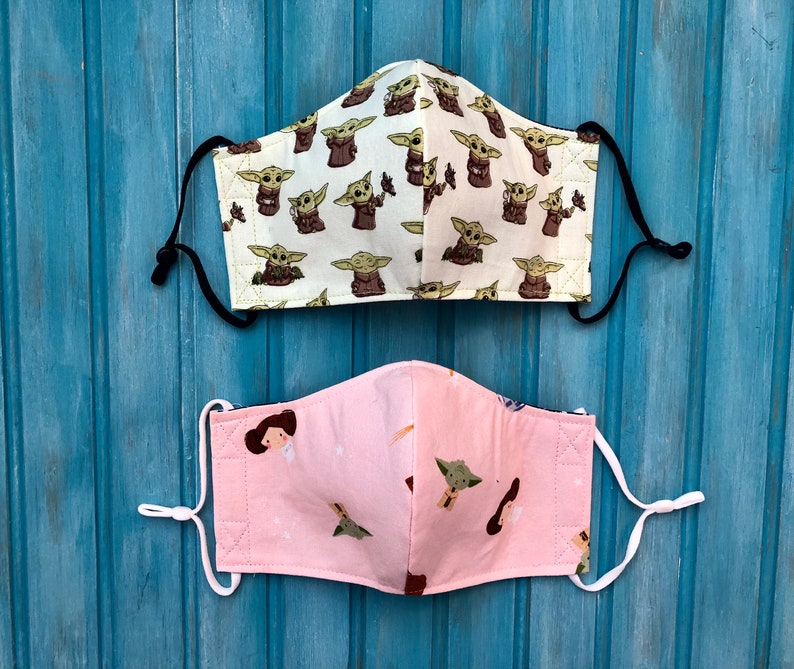 READY TO SHIP Childrens Two Layer Adjustable Mask Set of 2 image 0