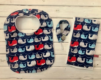 Baby Gift Set- Bib and Burp Cloth with Pacifier Clip- Whales