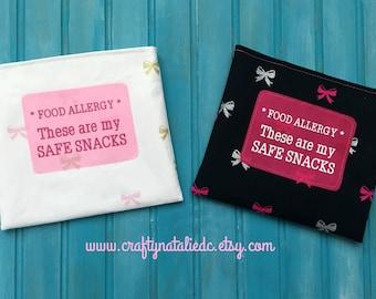 Food Allergy Alert- Safe Snack- Reusable Snack Bags- Pink Bows