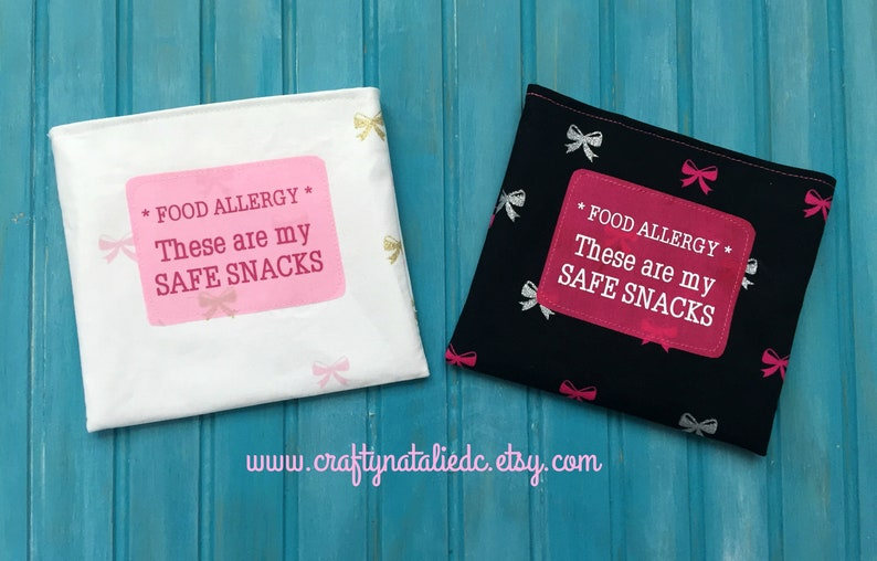 Food Allergy Alert Safe Snack Reusable Snack Bags Pink Bows image 0
