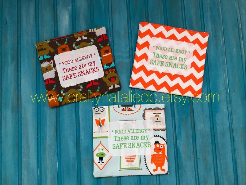 Food Allergy Alert Safe Snacks Reusable Snack Bags Silly image 0