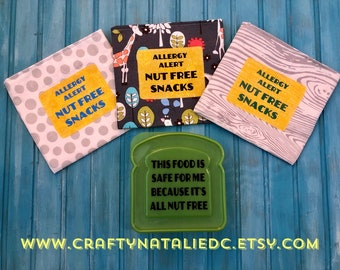 Food Allergy Alert Lunch Bundle- Nut Free Alert Sandwich Container With Three Reusable Snack Bags