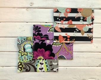 Set of 3 Reusable Snack/Sandwich Bags- Set of 3 Floral Snack/Sandwich Bags- Go Green Snack/Sandwich Bags- Eco Friendly Lunch Bags