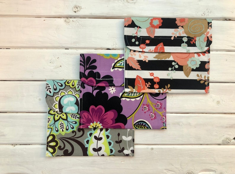 Set of 3 Reusable Snack/Sandwich Bags Set of 3 Floral image 0
