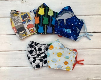 READY TO SHIP- Back To School Bundle- Children's Cotton Two Layer Masks w/Adjustable Ear Loops- Assorted Boys Mask Set (3-6)